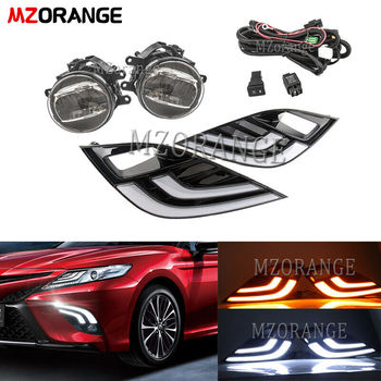 LED DRL fog lights Kit For Toyota Camry 2018 2019 Turn Signal with Daytime Running Fog Light and Wiring headlights foglights new arrival led drl daytime running light fog lamp for toyota camry 2015 top quality 100% waterproof pure white