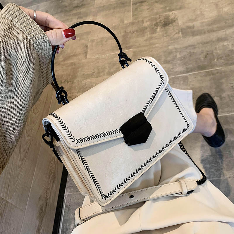 Iron Handle PU Leather Crossbody Bags For Women 2020 Small Summer Shoulder Messenger Handbags Lady Totes