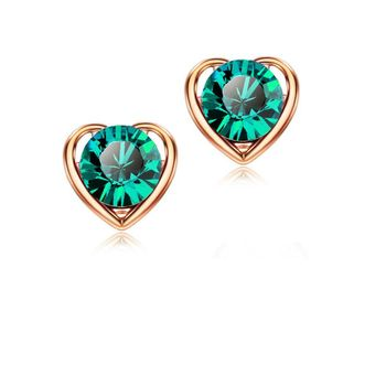 QiLeSen Fine jewelry 925 sterling silver suitable for ladies wedding earrings, Heart green color earrings YW128 image