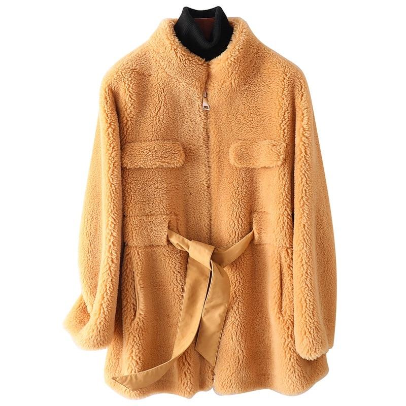 Genuine Wool Fur Coat Jacket  Autumn Winter Women Fur Outerwear Coats  LF9085