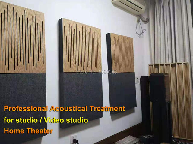 2pc size 60x60cm Acoustical Treatment for Private cinema/studio Pro Audio Equipment Wood Sound Acoustic panel with hang brackets