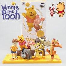 Disney 3-6cm Winnie The Pooh Tigger Piggy PVC figuras de acción postura Anime decoración colección figurita modelo de dibujos animados de juguete de regalo