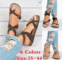 цена на Women Sandals Rome Style Summer Sandals For 2019 Flip Flops Plus Size 35-43 Flat Sandals Beach Summer Zapatos Mujer Casual Shoes