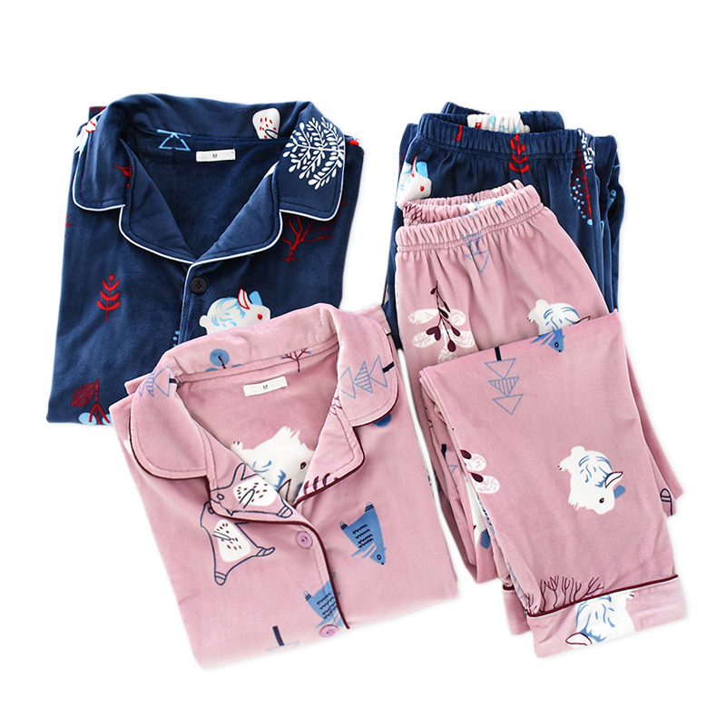 Kawaii Flannel Couples Pajamas Sets Man And Women Sleepwear Winter Cartoon Sweet Flannel Keep Warm Cute Rabbit Woman Pyjamas