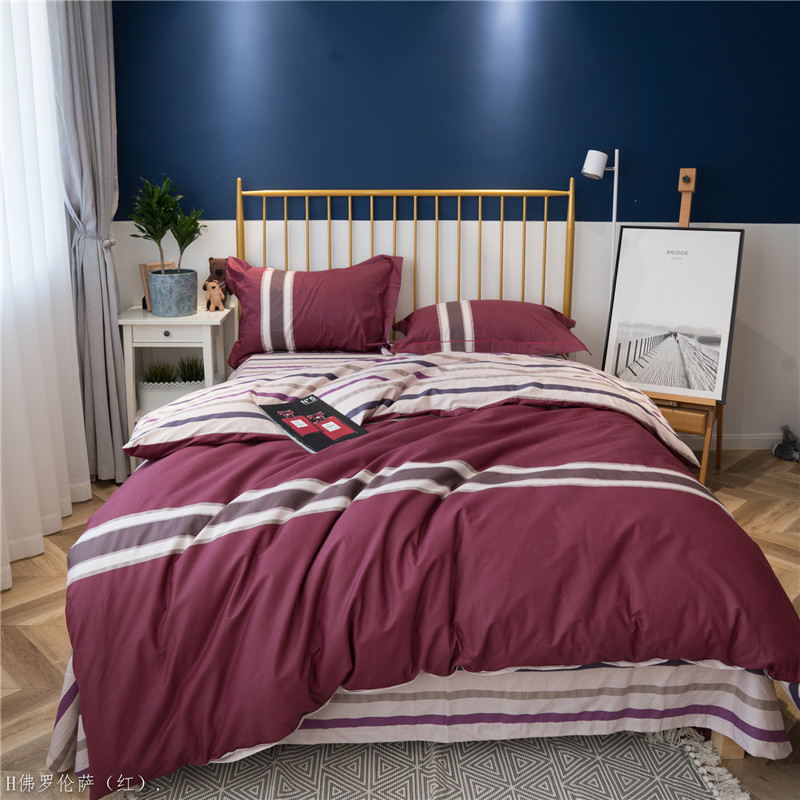 Brief Style red stripe 100% Cotton Bedroom Duvet Cover Bedding Set Bed sheet / fitted sheet Pillowcase Queen King size 4Pcs