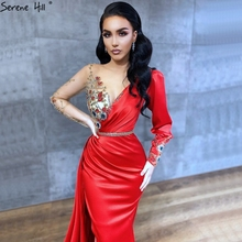 Serene tepe Dubai kırmızı saten uzun kollu abiye 2020 Mermaid boncuk çiçekler örgün parti kıyafeti tasarım CLA70509