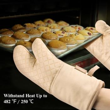 1 Set Of Oven Mitt Heat Resistant Pot Holder Pad Protective Oven Gloves Beige Kitchen Gloves