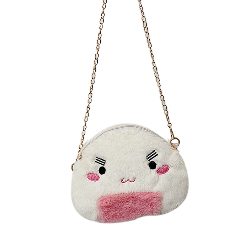 2020 Children Girls Cute Plush Cartoon Design Cross-body Handbag Shoulder Messenger Bag  5Colors
