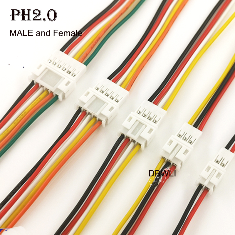10Pair Micro PH2 <font><b>JST</b></font> <font><b>PH</b></font> <font><b>2.0</b></font> PH2.0 2P 3P 4P 5P 6PIN Male Female Plug Connector With Wire Cables 100mm image