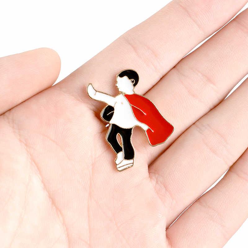 男赤岬スーパー hero リトルスーパーマンエナメルブローチクリエイティブ楽しいデニム革バッジギフト子供のための