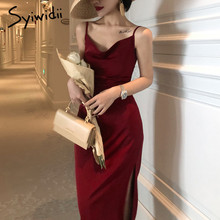 Satin Dress Spaghetti-Strap Party Syiwidii Spring Summer Straight Red Black Casual Woman