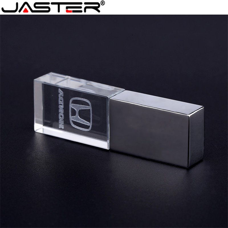 JASTER Crystal + Metal USB Flash Drive Pendrive 4GB 8GB 16GB 32GB 64GB USB 2.0 External Storage Memory Stick U Disk