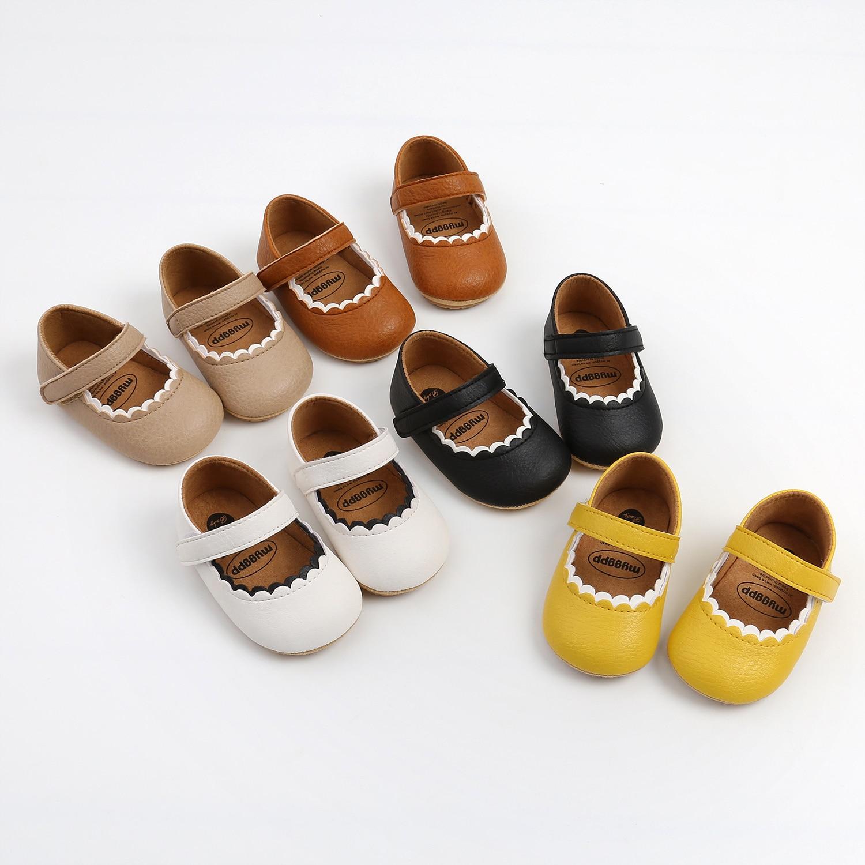Пинетки для новорожденных девочек, милые летние весенние туфли мэри джейн на плоской подошве из искусственной кожи, обувь принцессы с крючк...