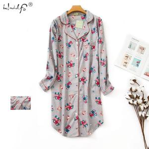Image 2 - 春カジュアル夜女性の綿長袖ネグリジェ特大睡眠シャツ 100% 綿のパジャマ pj 寝間着