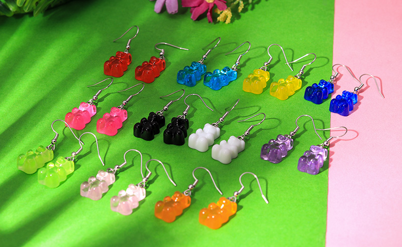 H8e86a34a38374a0cb2935900b411e6f8Y - 1 Pair Creative Cute Mini Gummy Bear Earrings Minimalism Cartoon Design Female Ear Hooks Danglers Jewelry Gift