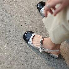 Sapatos femininos de couro de verao mary jane dentro e fora de couro completo dedo do pé quadrado cor co rrespondéncia pérola co