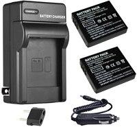 Bateria 2-pacote + carregador para ricoh DB-60  db60  DB-65  db65 lítio recarregável-ion