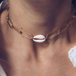 RscvonM New Fashion Metal Chain Natural Seashell Choker Necklace Collar Necklace Shell Choker Necklace for Summer Beach Gift