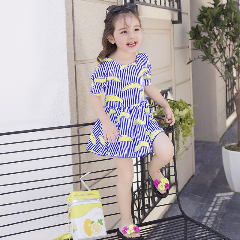 2017 New Style KID'S Swimwear Hipster Striped Dress GIRL'S Swimsuit Banana Baby Bathing Suit