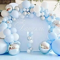 104pcs Bule Silver Macaron Metal Balloon Garland Arch Wedding Birthday Balloons Decoration Party Balloons For Kids Baby Shower