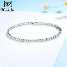Kuololit Solid 18K Gold Moissanite Tennis Bracelets for Women Round 2.5mm Charm Bracelet for Romantic Engagement Party Gifts