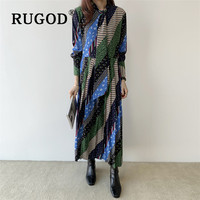 RUGOD 2020 Spring Vintage Retro Korean Twill Maxi Dress Full Sleeves Top For Women Casual Ladies Dresses Woman Party Night