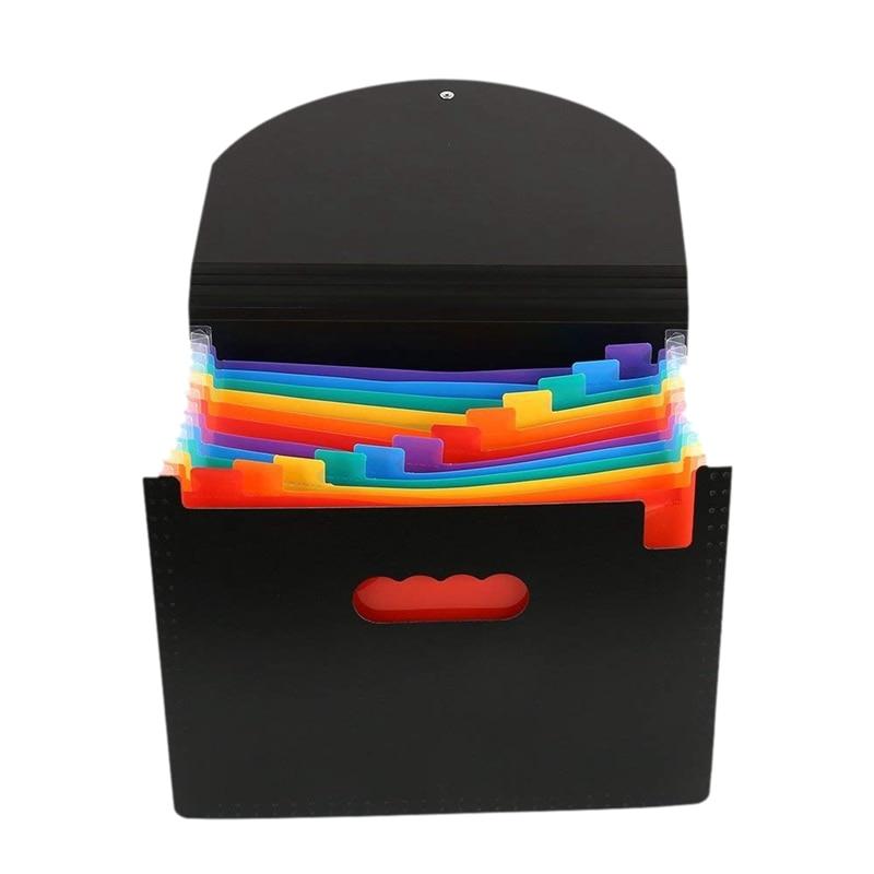 13 Pockets Expanding Files Folder A4 Expandable Portable File OrganizerMulticolour Stand Plastic Business File Organizer Box