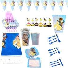107 pçs beauty beast tema bolo toppers copos decorar palhas chá de bebê toalha de mesa festa de aniversário garfos colheres guardanapos banners