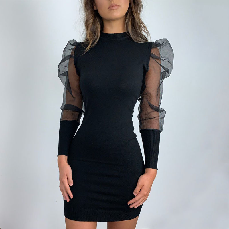 Vintage Bodycon Dress Fashion Women Slim OL Business Office Formal Dress Long Puff Sleeve Winter Dress Party Elegant Dress New
