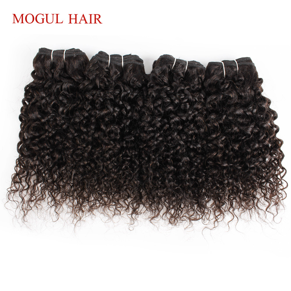 MOGUL HAIR 4 Pcs 50g/pc 10 12 Inch Brazilian Jerry Curly 100g/pc 3pc 14-24 Inch Natural ColorDark Brown Non Remy Human Hair Shor
