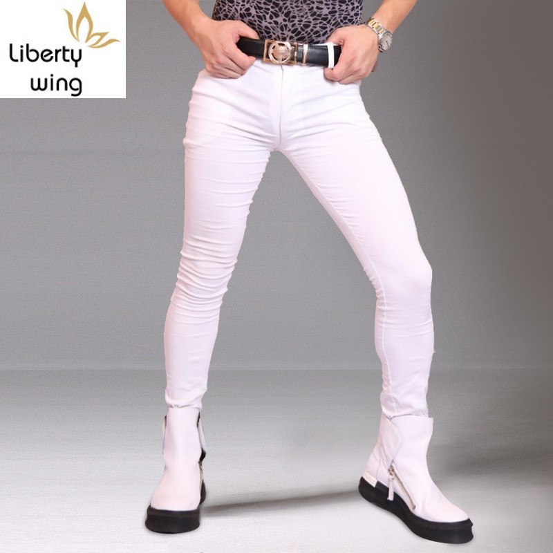 Men Casual Trousers Denim Jeans Slim Fit Skinny Fashion Casual Long Pencil Pants