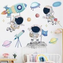 Dessin animé astronaute espace planètes Stickers muraux pour bébé pépinière chambre décoration Stickers muraux pour enfants chambre salon décor PVC