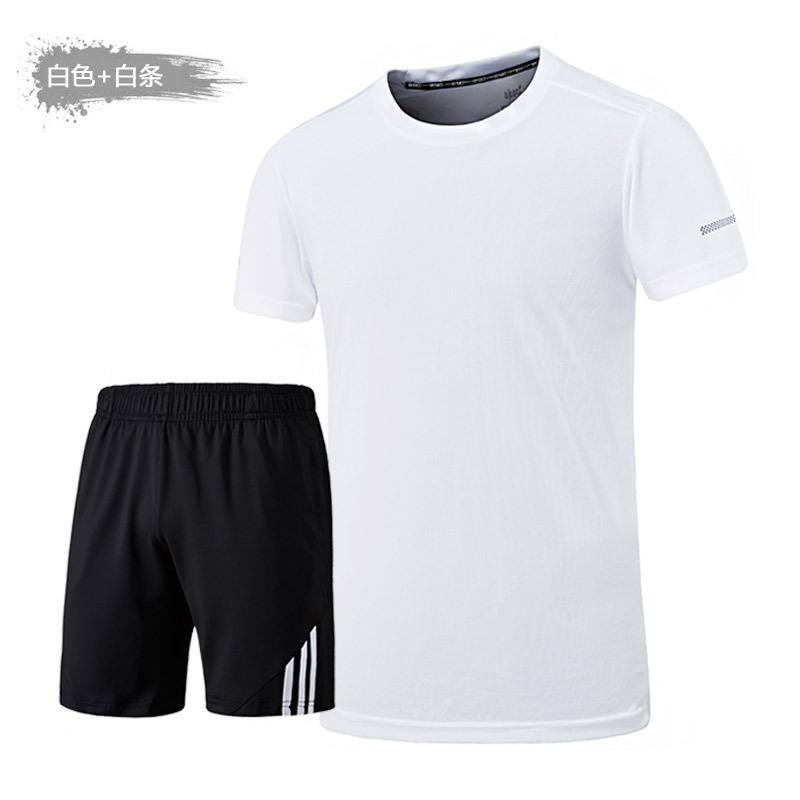 Two-Piece Set Short Sleeve MEN'S T-shirt Loose-Fit Summer New Style Large Size Trend Casual Sports MEN'S Suit Youth Clothes