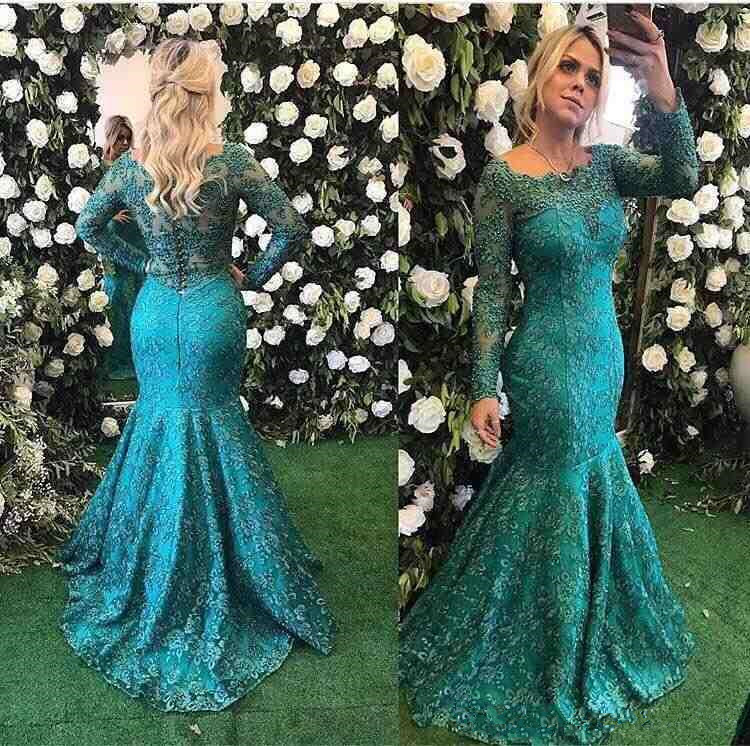 Classy Lace Mother Of The Bride Dresses With Long Sleeves vestido de madrinha Beaded Wedding Guest Dress Mermaid Evening Gown