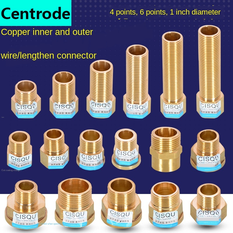 1/2 IN Connector 3/4 IN 1-inch Lengthened Direct Full Copper Gas Hot Water Heating Accessories Extension Wire Thickening