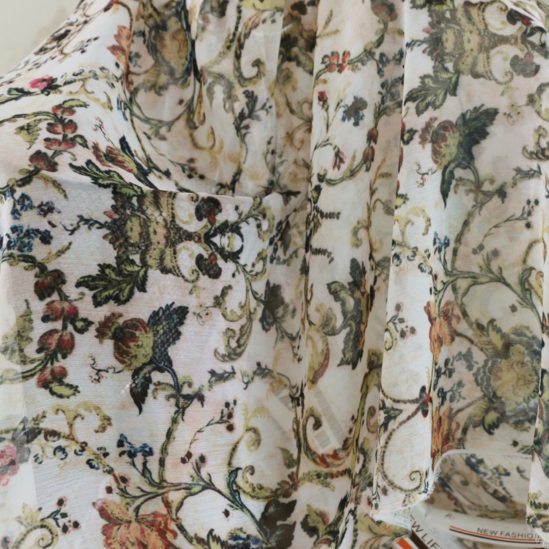Vintage Chiffon Crepe Fabric Material For Evening Dress Shading digital Flower