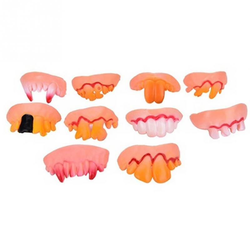 10pc Halloween Vampire Monster Teeth Fangs Dentures Soft Rubber  Novelty Funny Toy Costume Party Favors Prank Props Toys #E