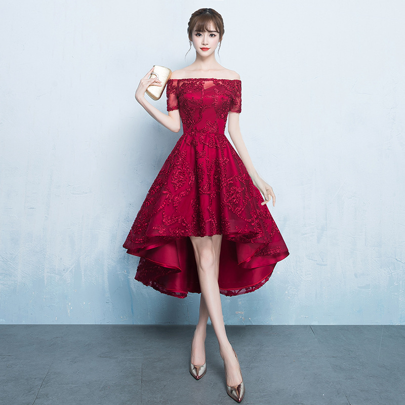 Young Lady Burgundy Qipao Dress Asymmetrical Dresses Vestidos De Festa Midi Evening Party Gown Novelty Lace Flower Cheongsam