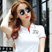 2019 High Quality Summer Women Short Sleeve 100% Cotton Hat Embroidered Logo Slim Polo Shirts Fashion Mujer Button Polo Shirt(China)