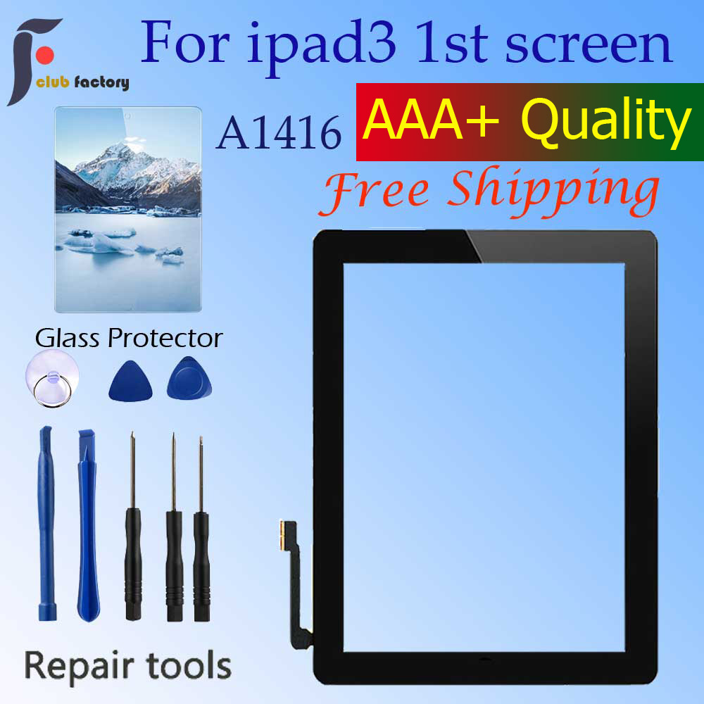 1Pcs For IPad 3 A1430 A1416 A1403 Touch Screen LCD Outer Touch Screen Digitizer Front Glass Panel With Home Button Replacement