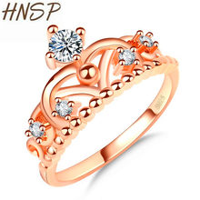 HNSP Top Zircon Rose Gold Crown Ring For Women fashion jewelry Engagement wedding Female Rings Anel anillos mujer(China)