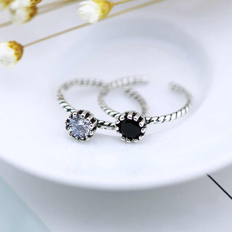 בציר טוויסט חבל פתוח תאילנדי כסף טבעת עם לבן שחור זירקון 925 כסף סטרלינג תכשיטים עבור מתנות S-R397