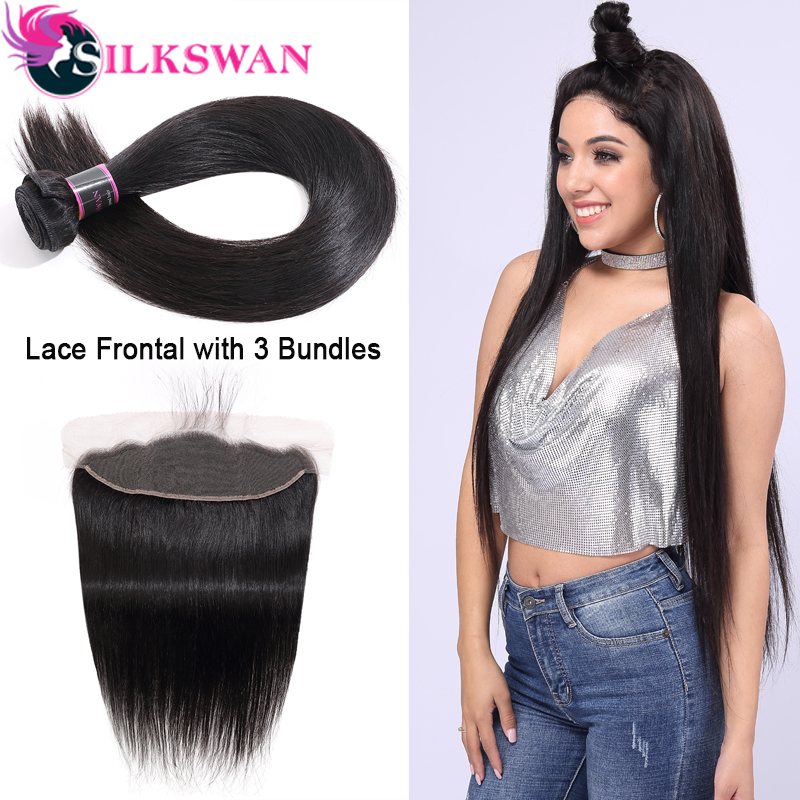 Straight Hair Bundles With Frontal Remy Human Hair Bundles With Closure Peruvian Hair Silkswan Weave Bundles With HD Closure