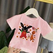 Verão bing t camisa dos desenhos animados para a menina camiseta bonito da menina roupas para crianças meninos bing coelhos gráfico t camisa