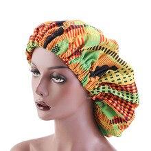 40 adet/grup toptan ekstra büyük saten Bonnet Ankara baskı afrika desen Bonnet kadınlar gece uyku kap çift katmanlı şapkalar