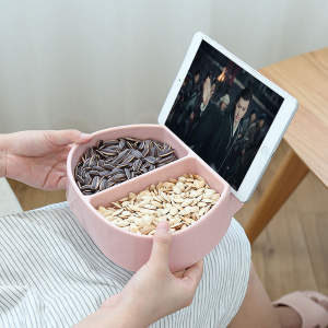 Bowl Plastic Storage-Box Fruit-Plate Snack Mobile-Phone-Stand Double-Grid Creative Modern