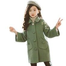 Ceket kızlar için çiçek desen kızlar uzun ceket kalın sıcak ceket kış genç giyim kızlar için 6 8 10 12 14 yıl
