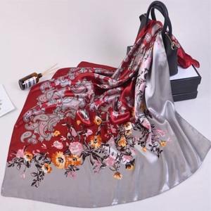 Image 3 - Silk Schal Frauen Druck haar hals Platz Schals Büro Damen Schal Halstuch 90*90cm Moslemisches Hijab Taschentuch schalldämpfer foulard