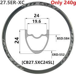 [CB27.5XC24SL] CarbonBeam 240g 24mm szerokość 24mm głębokość 27.5er rower górski z włókna węglowego XC bezdętkowe 650B karbon mtb felgi|Felgi|   -