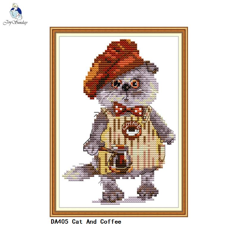 Stamped Cross Stitch Starter Kit Accurate Pre-printed Pattern Cat Hang in There